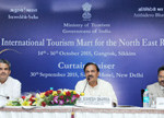The Minister of State for Culture (Independent Charge), Tourism (Independent Charge) and Civil Aviation, Dr. Mahesh Sharma addressing a Curtain raiser cum pre-event Press Conference for 4th International Tourism Mart (ITM), in New Delhi on September 30, 2015.