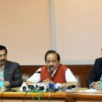 The Union Minister for Science & Technology and Earth Sciences, Dr. Harsh Vardhan addressing a press conference on CSIR's endeavors to boost Indian Leather Industry, in New Delhi on November 03, 2016.