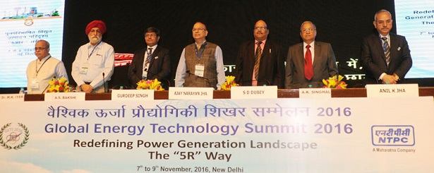 The Secretary, Ministry of Environment, Forest and Climate Change, Shri Ajay Narayan Jha and other dignitaries at the inauguration of the Global Energy Technology Summit (GETS) 2016, organised by the NTPC, in New Delhi on November 07, 2016.