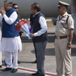 PM being received by the Governor  & CM of Chhattisgarh