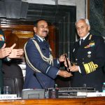 The Chief of Naval Staff, Admiral Sunil Lanba receiving the Chairman Chiefs of Staff Committee (COSC) baton from outgoing Chief of the Air Staff, Air Chief Marshal Arup Raha at a ceremony, in New Delhi on December 29, 2016. The Chief of Army Staff, General Dalbir Singh and the Chief of Integrated Defence Staff to the Chairman Chiefs of Staff Committee (CISC), Lt. Gen. Satish Dua are also seen.
