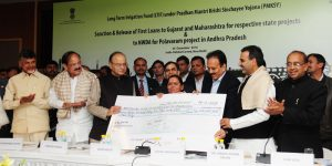 The Union Minister for Water Resources, River Development and Ganga Rejuvenation, Sushri Uma Bharti handing over the documents related to financial assistance for state project to the Irrigation Minister of Maharashtra Shri Girish Dattatray Mahajan, under the Prime Minister Krishi Sinchayee Yojana, at a function, in New Delhi on December 26, 2016. The Union Minister for Finance and Corporate Affairs, Shri Arun Jaitley, the Union Minister for Urban Development, Housing & Urban Poverty Alleviation and Information & Broadcasting, Shri M. Venkaiah Naidu, the Chief Minister of Andhra Pradesh, Shri N. Chandrababu Naidu, the Minister of State for Youth Affairs and Sports (I/C), Water Resources, River Development and Ganga Rejuvenation, Shri Vijay Goel and the Minister of State for Water Resources, River Development and Ganga Rejuvenation, Dr. Sanjeev Kumar Balyan are also seen.