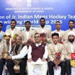 Vijay Goel felicitating the Indian Junior Hockey Team