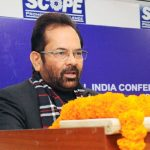 The Minister of State for Minority Affairs (Independent Charge) and Parliamentary Affairs, Shri Mukhtar Abbas Naqvi at inauguration of the All India Conference of Chairpersons and Chief Executive Officers of State/UT Waqf Board, in New Delhi on January 07, 2017. The Secretary, Ministry of Minority Affairs, Shri Ameising Luikham is also seen.