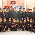 The Chief of Army Staff, General Bipin Rawat and the Vice Chief of Army Staff, Lt. Gen. Sarath Chand in a group photograph with the with school children, as part of 'National Integration Tour' from various schools of Imphal, West District of Manipur, in New Delhi on January 16, 2017.