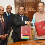 The Union Minister for Agriculture and Farmers Welfare, Shri Radha Mohan Singh and the Minister of Business Enterprise and Cooperatives of Mauritius, Shri S. Bholah after signing an MoU between India and Mauritius for cooperation in the field of cooperatives & allied sectors, at a bilateral meeting, in New Delhi on January 16, 2017.