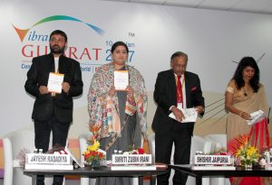"The Union Minister for Textiles, Smt. Smriti Irani releasing an information booklet at the 'Make in Gujarat' theme seminar on ""Trends & Innovation impacting the Textile Value Chain"", during the Vibrant Gujarat Global Summit 2017, at Mahatma Mandir, in Gandhinagar, Gujarat on January 12, 2017."