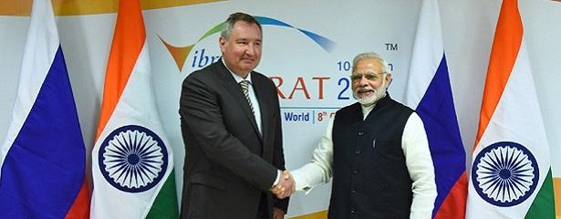 The Prime Minister, Shri Narendra Modi meeting the Deputy Prime Minister of Russia, Mr. Dmitry Rogozin, at Mahatma Mandir Convention Center, in Gandhinagar, Gujarat on January 09, 2017.