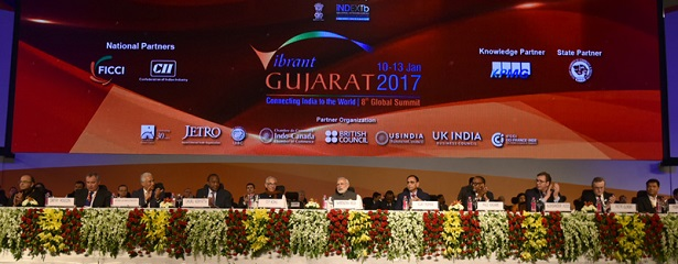 The Prime Minister, Shri Narendra Modi and other dignitaries at the inauguration ceremony of the Vibrant Gujarat Global Summit 2017, at Mahatma Mandir, in Gandhinagar Gujarat on January 10, 2017.