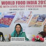 The Union Minister for Food Processing Industries, Smt. Harsimrat Kaur Badal addressing at the meeting with the State Food Processing Ministers on World Food India – 2017, in New Delhi on March 06, 2017. The Secretary, Ministry of Food Processing Industries, Shri Avinash Kumar and other dignitaries are also seen.