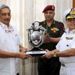 The Union Minister for Defence, Shri Manohar Parrikar presenting the Raksha Mantri's Trophy for the Best Service Hospital in the Armed Forces Medical Services (AFMS) for the year 2016 to Commandant, INHS Asvini Mumbai, Surgeon Rear Admiral Ravi Kalra, in New Delhi on March 02, 2017. The Director General, AFMS and Senior Colonel Commandant Lt. General M.K. Unni is also seen.