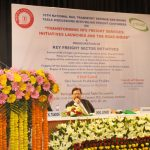 The Union Minister for Railways, Shri Suresh Prabhakar Prabhu addressing at the flag-off/inaugurate the following services/activities namely:1. Launch of Policy of 'Long Term Contracts' with major customers 2. Launch of Indian Railways Freight and Passenger Business Action Plan - 2017-18, 3.  Flag-off the confirmation trial of Double Stack Dwarf Container Train under wire- a New Delivery Model 4. Flag-off the demonstration run of Ro-Ro (Roll on – Roll off) service across the National Capital Region- A Pilot project of Indian railways for 'Green Transportation' - to reduce road congestion and improve environment, at the National Rail Museum, in New Delhi on March 02, 2017. The Member Traffic, Railway Board, Shri Mohd. Jamshed is also seen.