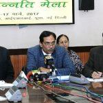 "The Secretary (DARE) & Director General (ICAR), Dr. Trilochan Mohapatra holding ""Curtain raiser Press Conference on Krishi Unnati Mela, 2017,"" in New Delhi on March 14, 2017."