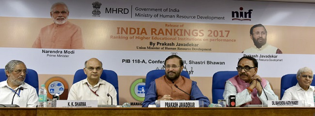 "The Union Minister for Human Resource Development, Shri Prakash Javadekar addressing at the release of the ""INDIA RANKING 2017"", in New Delhi on April 03, 2017.  The Minister of State for Human Resource Development, Dr. Mahendra Nath Pandey and other dignitaries are also seen."