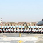 "The Air Officer Commanding-in- Chief Western Air Command, Air Marshal C. Hari Kumar with the Squadron personnel of ""THE VALIANTS"", during the induction ceremony of SU 30 MKI, at Air Force Station, Halwara (Punjab) on April 24, 2017."