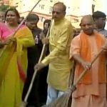 Yogi Adityanath wields broom for cleaner Uttar Pradesh