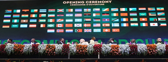 The Prime Minister, Shri Narendra Modi at the opening ceremony of the Annual Meeting of the African Development Bank, in Gandhinagar, Gujarat on May 23, 2017. The Union Minister for Finance, Corporate Affairs and Defence, Shri Arun Jaitley and other dignitaries are also seen.