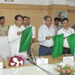 The Union Minister for Railways, Shri Suresh Prabhakar Prabhu flagging off the Train No. 17323/17324 Hubballi - Varanasi - Hubballi Express (Weekly), through video conferencing from Rail Bhavan, in New Delhi on May 23, 2017. The Chairman, Railway Board, Shri A.K. Mital and the Member Traffic Railway Board, Shri Mohd Jamshed are also seen.