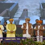 PM releasing Narmada waters from newly pumping station
