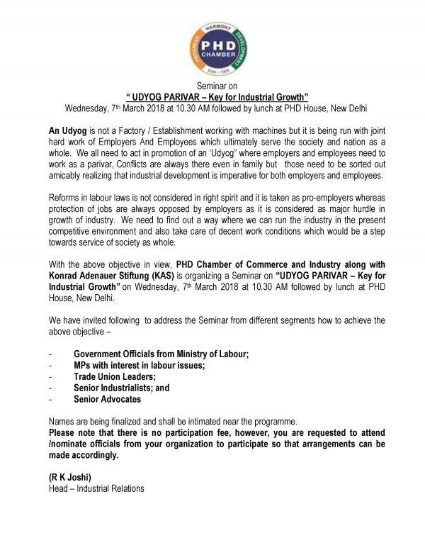 Seminar on UDYOG PARIVAR – Key for Industrial Growth