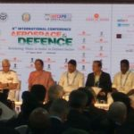 Media Interaction by Raksha Mantri at DefExpo 2018