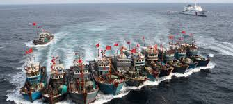 Fishing fleets travelling
