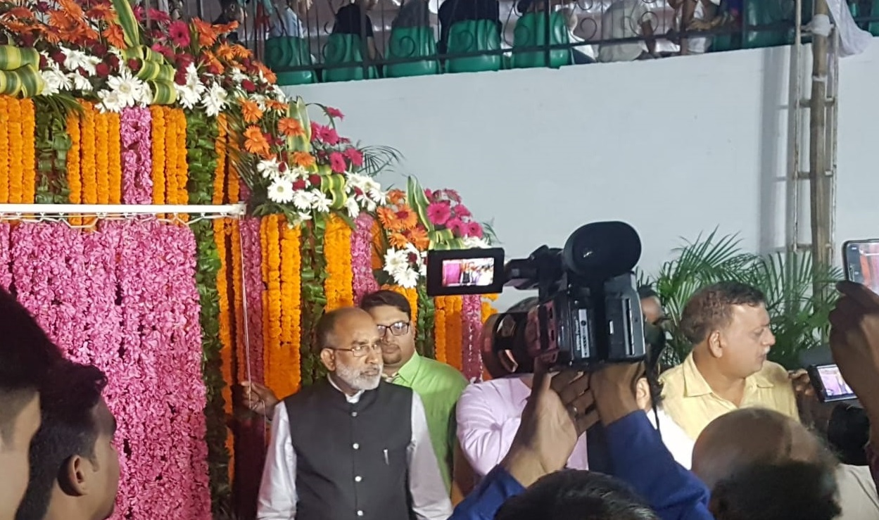 K J Alphons at the inaugration of Tilyar lake Sound and Light Show