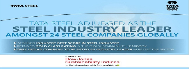 Tata Steel adjudged as Steel Industry Leader in DJSI