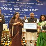 District Raigarh, Chhattisgarh receiving Beti Bachao Beti Padhao award for best community engagement by a district.