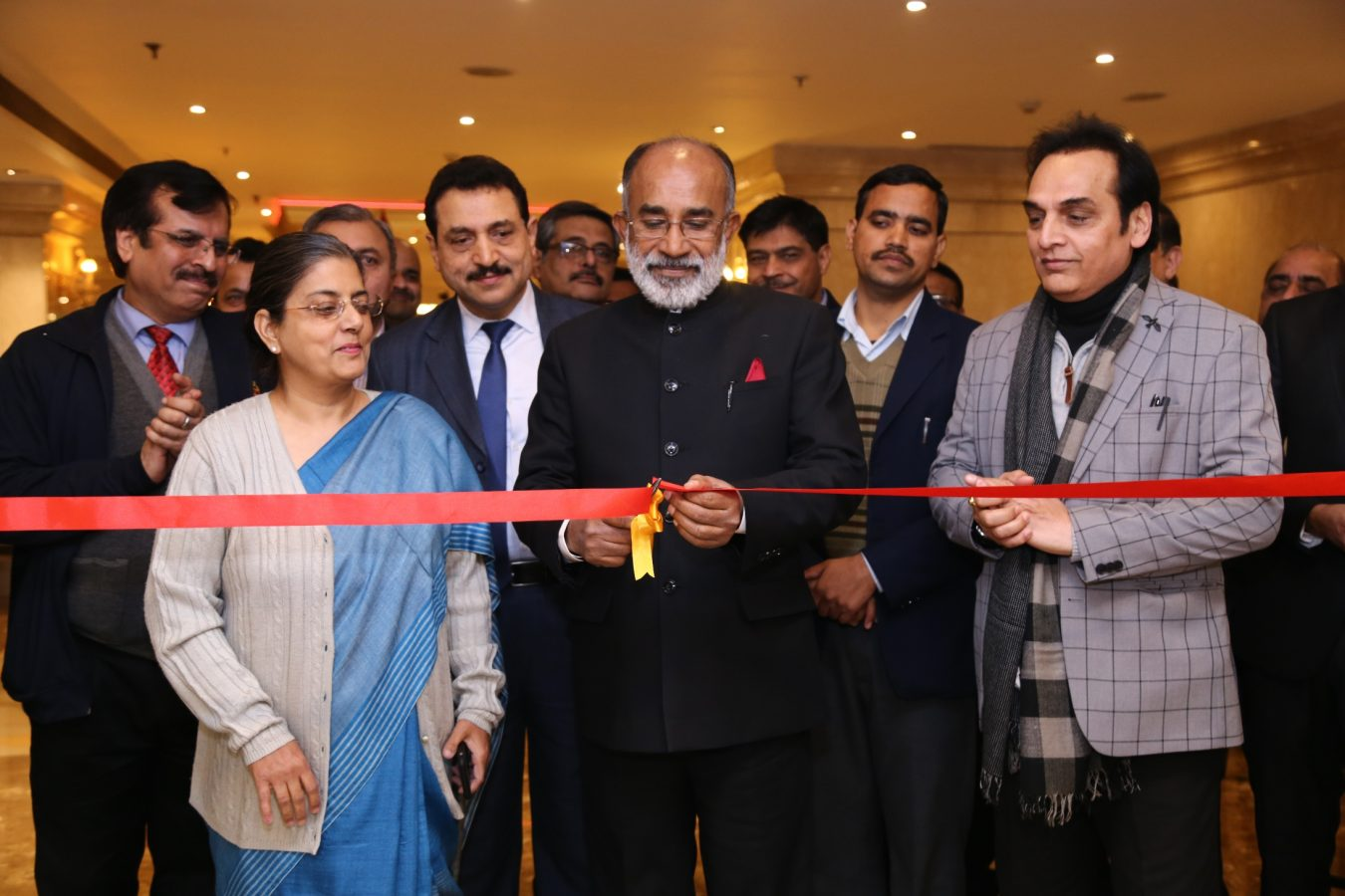 K J Alphons inaugrating The Ashok Cake Shop along with Ms. Ravneet Kaur, CMD, ITDC