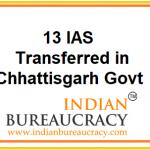 13 IAS transferred in Chhattisgarh