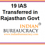19 IAS Officers in Rajastha