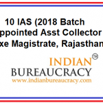10 IAS appointed Asst Collector & Exe Magistrate, Rajasthan