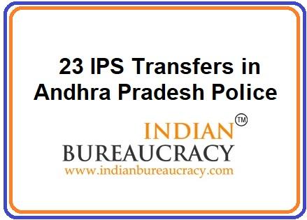 23 IPS transferred in AP Govt