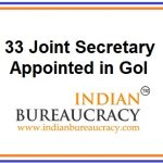 33 Joint Secretary Appointed in GoI
