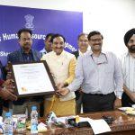 Union HRD Minister Dr Ramesh Pokhriyal 'Nishank' felicitates heads of IIT Bombay, IIT Delhi and IISc