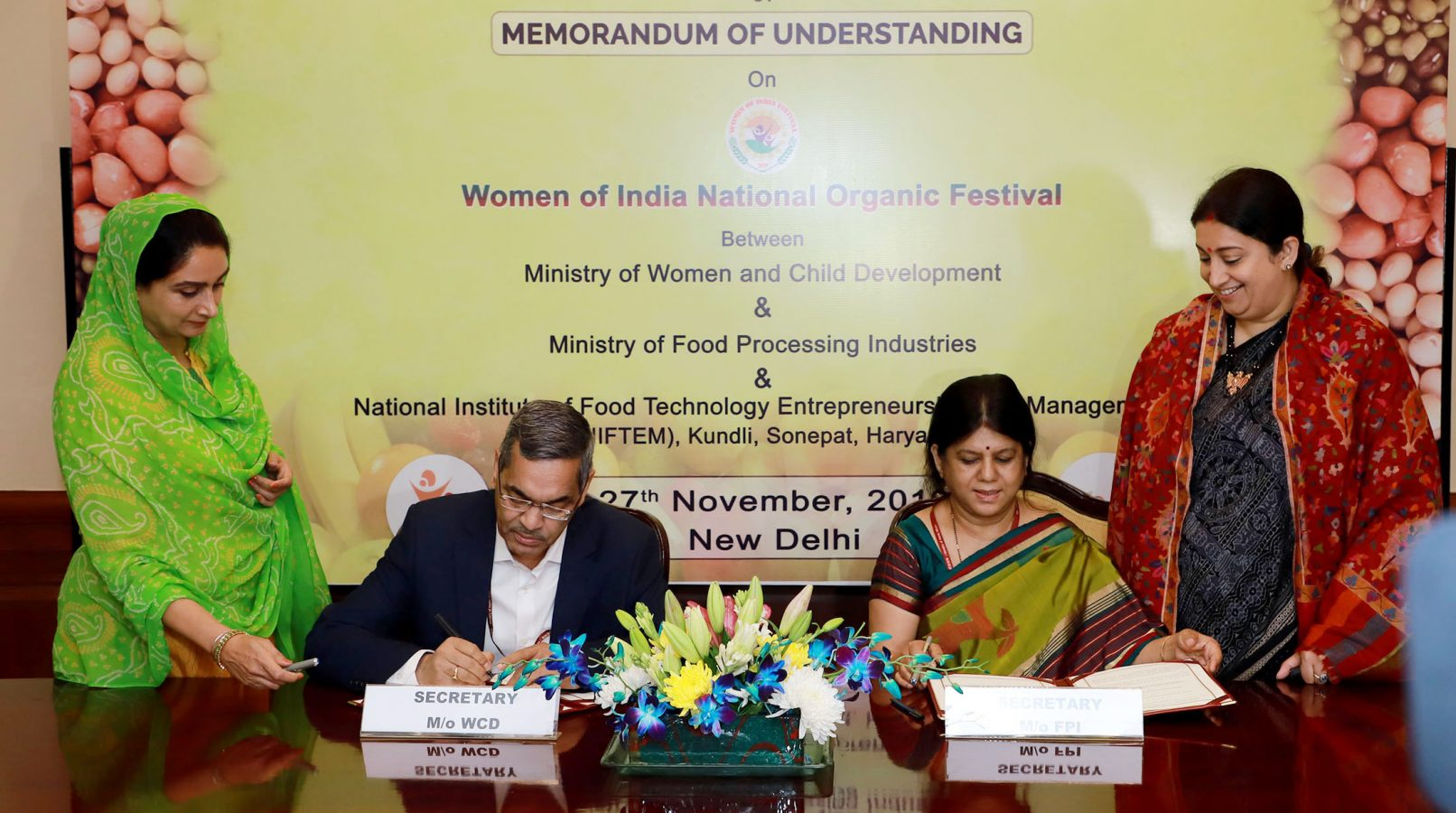 WCD Ministry MoU with Ministry of Food Processing Industries
