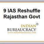 9 IAS Reshuffle in Rajasthan Govt9 IAS Reshuffle in Rajasthan Govt
