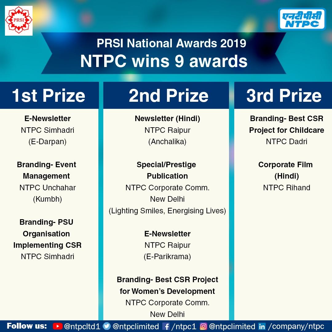 Nine awards for NTPC at PRSI 2019