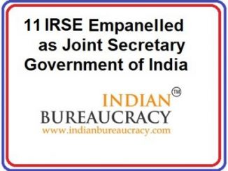 11 IRSE 1993 Batch empanelled as Joint Secretary, GoI