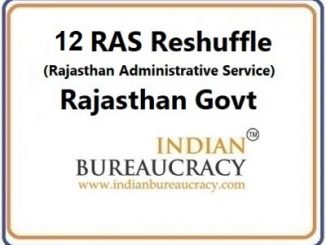 12 RAS Reshuffle in Rajasthan Govt