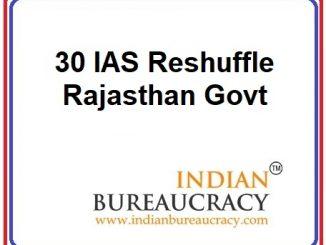 30 IAS Transfer in Rajasthan Govt