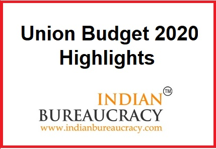Union Budget 2020-21 Highlights