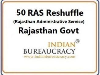 50 RAS Transfer in Rajasthan Govt